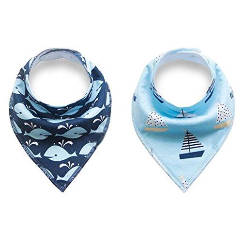 Baby Dreieckstuch Lätzchen 8er Pack Halstuch Spucktuch Lätzchen mit Druckknopf für Baby Jungen und Mädchen Kleinkinder Saugfähig Weich Größenverstellbar - 5
