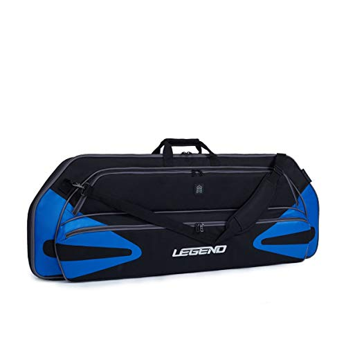 "Legend Monstro Compound Bow Soft Case with Protective Padding - 44"" Interior Storage Space for Hunting Accessories, Arrow Tube Holder and Supplies (Black/Blue)"