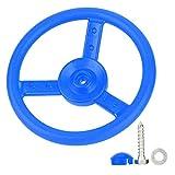 VGEBY Volante con Juego de Columpios, Juego de Columpios para Exteriores de plástico para niños(Azul)