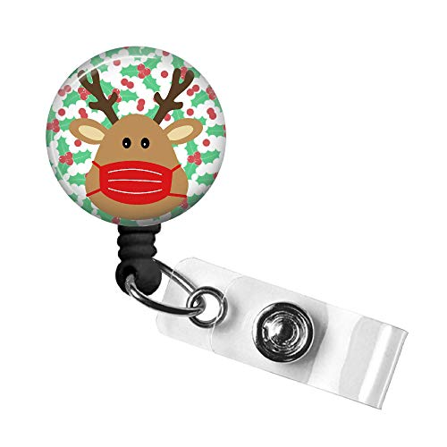 Reindeer Mask Badge Reel, Christmas Retractable ID Tag, Badge Pull, Badge Holder with Swivel Alligator Clip, 34in. Nylon Cord, Medical MD RN Nurse Office Employee, Stocking Stuffer