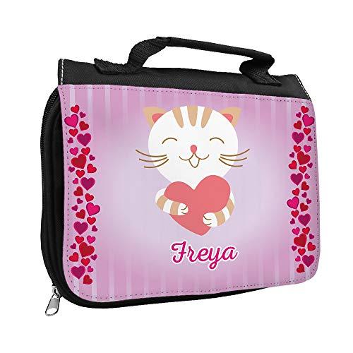 Kulturbeutel mit Namen Freya und Katzen-Motiv mit Herzen für Mädchen | Kulturtasche mit Vornamen | Waschtasche für Kinder