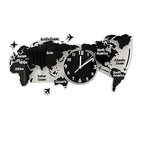 YYL Reloj Nelson Reloj Mapamundi 3D Negro Silencioso Sin Tictac Gran Número Estéreo 3D Acrílico Moderno De Pilas para la Decoración de la Sala de Estar (Size : 80 * 38cm)