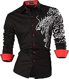 Sportrendy Men Slim Casual Long Sleeves Button Down Dress Shirt JZS041 Black M