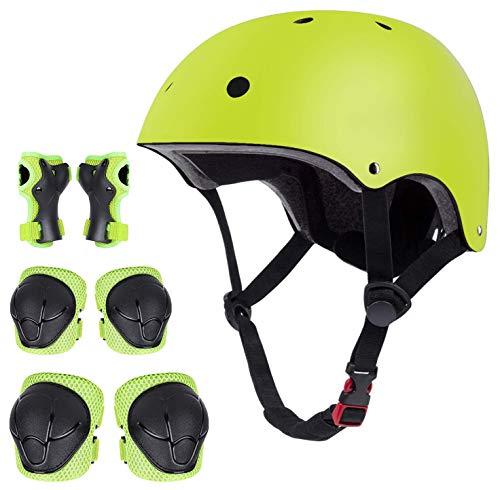 Juego de protectores para bicicleta, casco, rodilleras, coderas, muñequeras para niños (amarillo...