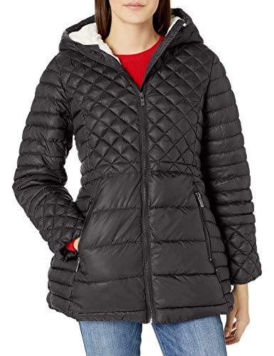 Steve Madden Damen Insulated Parka Jacket Daunenalternative, Mantel, Gesteppter Gletscher-Schutz, Schwarz, Klein