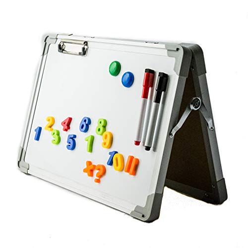 IbexStationrs Dry Erase Desktop Whiteboard Easel for Home Learning, Magnetic Tabletop White Board, Portable Whiteboards with Paper Clip, Magnetic Numbers, 2 Color Markers with Eraser Tip 12X16