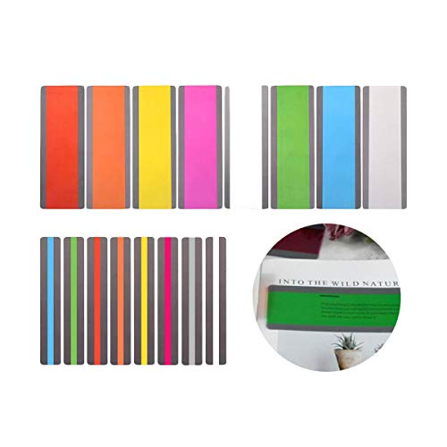EOPER Reading Strips, 16 Pieces Colored Highlight Guided Reading Strips Overlay Bookmarks Tracking Rulers Helps with Reduce Visual Stress for Student,Teacher, Dyslexia People L/M