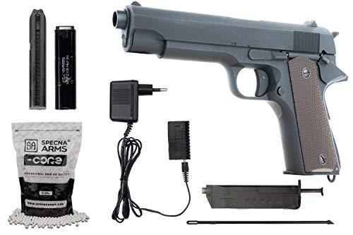 Cyma Softair Metall 1911 CM123 AEP Airsoft Kal. 6mm BB Semi & Vollautomatisch Vollmetall Set inkl. Akku, Ladegerät, Speedloader & 2500 0,20g BBS <0,5 Joule