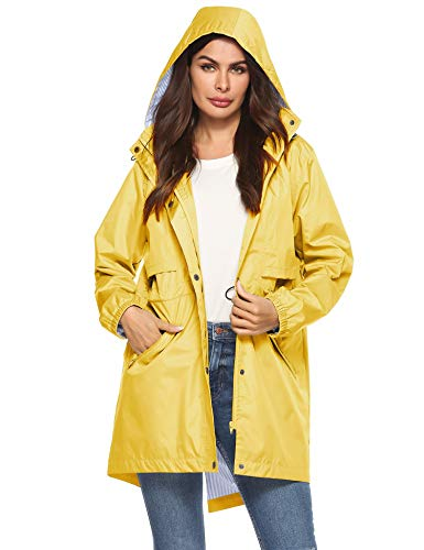 Womens Long Raincoats Waterproof With Hood Best Rain Jacket Ladies Yellow L