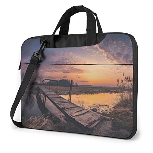 Laptop Sleeve Bag Bridge Water Sunset Sky Clouds Stream Reeds Nature Tablet Briefcase Ultraportable Protective Canvas for 14 inch MacBook Pro/MacBook Air/Notebook Computer