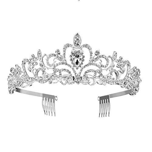 Rhinestones Wedding Tiara Crystal Bridal Crown with Comb Princess Crown Headband for Party
