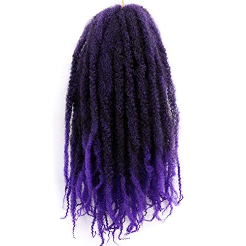 Marley Braids Hair Afro Kinky Curly Marley Curl Twist Braid Hair Extensions Kanekalon Synthetic Twist Crochet Hair 18 Inch Ombre Color (1B-Purple#)