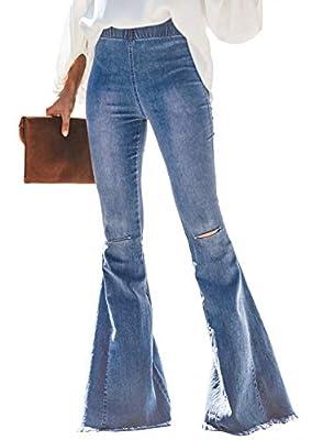Sidefeel Women Destoryed Flare Jeans Elastic Waist Bell Bottom Tassel Denim Pants Medium Light Blue