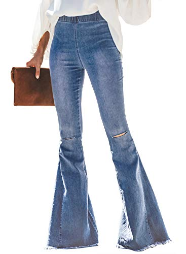 Sidefeel Women Destoryed Flare Jeans Elastic Waist Bell Bottom Tassel Denim Pants XX-Large Light Blue