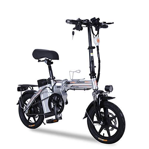ONLYXKZ Bicicleta eléctrica, Plegable, batería de Litio para Adultos, con batería de Iones de Litio extraíble, Color Plata, tamaño 20A