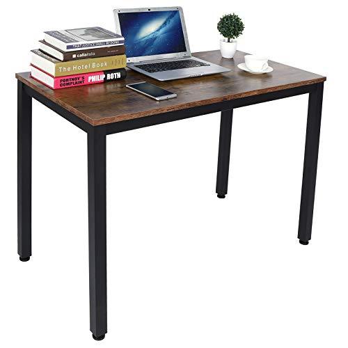 AYNEFY Escritorio de ordenador de estilo industrial, con marco de metal, para estudio, portátil, mesa para casa, oficina, muebles, 100 x 50 x 75 cm (marrón retro)