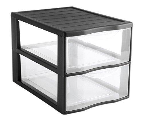 Sundis Orgamix Mini Aufbewahrungsschrank 4219029, Kunststoff, Transparent/schwarz, 36,5 x 26 x 25,5 cm