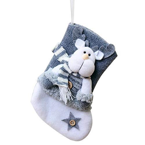 lembrd Nikolausstiefel Nikolausstrumpf Weihnachtsstrumpf zum Befüllen und Aufhängen   Weihnachtssocken Geschenk Taschen - Dreidimensionale Alte Mann Schneemann Elch Figur Strümpfe Geschenk Candy Bag
