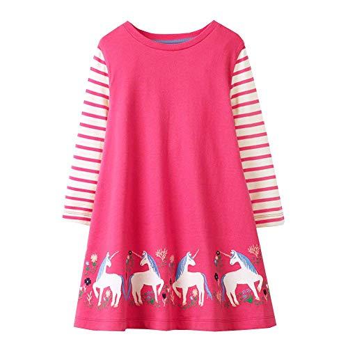 VIKITA Mädchen Baumwolle Langarm Streifen Tiere T-Shirt Kleid EINWEG JM7778 8T