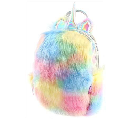 Plüsch Mini Einhorn Rucksack, niedlich Plüsch Einhorn Rucksack für Mädchen Schultasche Reisetasche (Gelb)