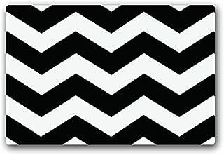 Custom Black White Zig Zag Chevron Zigzag Stripes Wave Doormats Cover Non-Slip Machine Washable Outdoor Indoor Decor Rug