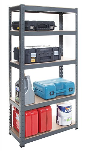 5 Tier EXTRA Heavy-Duty Boltless Shelving Unit - 180 High, 70 Wide, 30 Deep (cm)