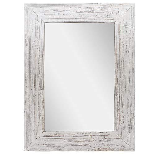Barnyard Designs espejo decorativo para colgar en la pared, rústico, vintage, granja, efecto envejecido, de madera, para decoración de pared, 61 x 81 cm