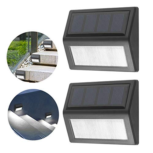 Lixada 6 LED Solar Stair Lamp wandlamp IP65 waterdicht outdoor landschapsverlichting voor Path Garden Courtyard, 2 stuks