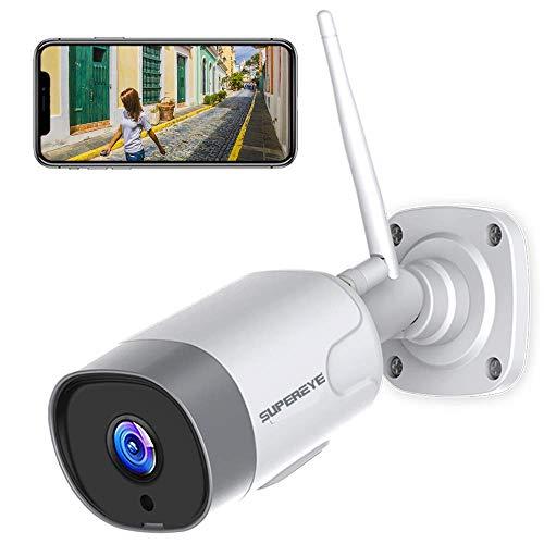 SuperEye WLAN IP Kamera Outdoor,Überwachungskamera Aussen IP66 wasserdichte mit Nachtsicht,1080P WiFi Kamera mit Zwei Wege Audio und Bewegungserkennung,Support Alexa