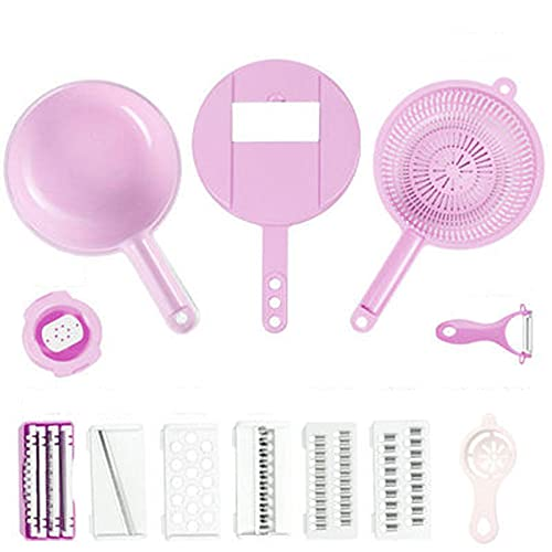 XIGU Cortador de mandolina cortador de alimentos cortador de verduras rallador de patatas cortador de verduras rallador con recipiente, cocina para el hogar duradero eficiente antideslizante rosa