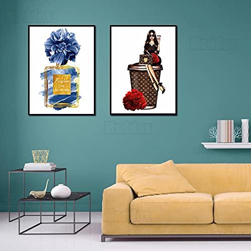 HXLZGFV Pintura en Lienzo Arte de la Pared Chica Alta | Lujo de Gama Alta Bote de Basura Magnífico Rojo Rosa Flor Azul Botella de Perfume Decorativa Imágenes de decoración | 40x60cmx2Pcs | Sin Marco