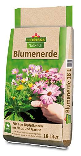 Florissa Natuurlijke biologische potgrond zonder turf I voor weelderige bloemen bij kamerplanten en potplanten op het balkon I biologisch voorbemest voor 4-6 weken | 18 L