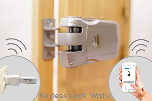 Keyless Lock Wafu Cerradura electrónica inteligente 4 mandos +USB Bluetooth apertura con móvil.Desbloqueo con mandos o smartphone.Cerrojo de seguridad antirrobo.