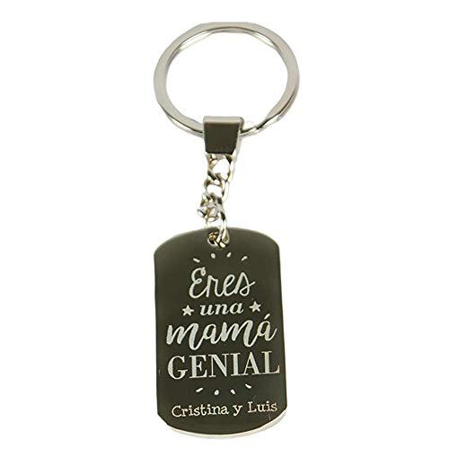 Regalo Personalizable para Madres: Llavero Grabado 'Eres una mamá Genial' Personalizado con el Texto Que tú Quieras