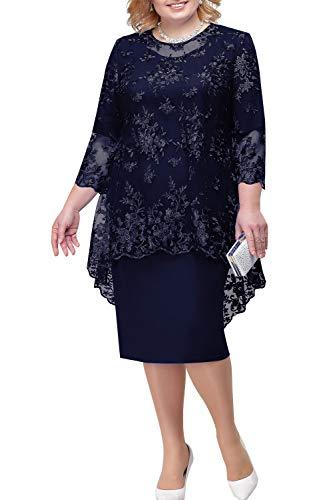 BABYONLINE D.R.E.S.S. Luxurioes Brautmutterkleider Übergrößen Abendkleider Etuikleider Promkleider Knielang, dunkel blau, Gr.54