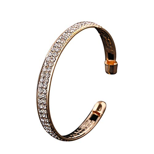 Hemlock Women Crystal Bracelet Rhinestone Open Bangle Cuff Bracelet Jewelry (Gold)