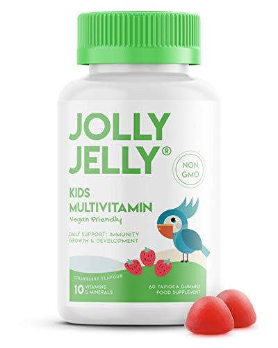 Kids Multivitamins & Minerals Gummies - 10 Essential Vitamins & Minerals for Kids - Organic Tapioca Based. Strawberry Flavour - 60 Gummies.