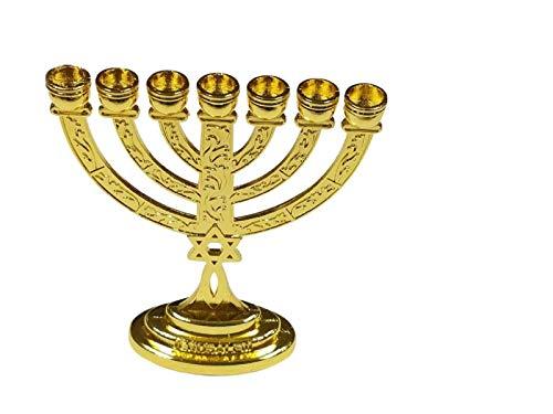 Bethlehem Gifts TM Messianisches Schild, 10,2 cm, Motiv: Siegeltempel, Menora, Davidstern aus dem Heiligen Land Gold
