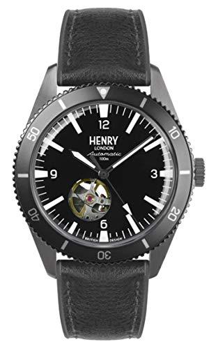 Henry London Herren Skeleton Automatik Uhr mit Silikon Armband HL42-AS-0332