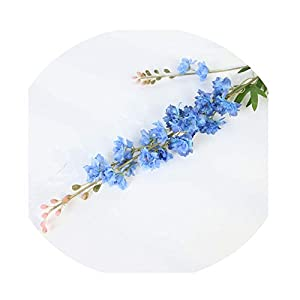 Sevem-D 1Pcs/Lot 67/80Cm Artificial Flowers Delphinium Flower Branch Fake Leaf for Wedding Hyacinth Silk Flower-Blue