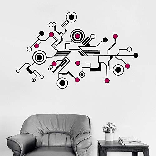 JXND Große High-Tech abstrakte Schaltung Wandaufkleber Aufkleber einzigartiges Muster Vinyl Wandbild Büro Wohnzimmer Wand Innendekoration 85X32CM