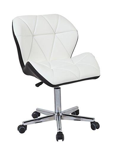 HNNHOME - Silla de oficina giratoria, piel acolchada, color blanco y marrón