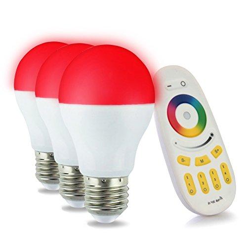 LIGHTEU, 3 x WiFi Ampoule LED, 6W, E27, Multicolore RGB blanc chaud à intensité variable avec télécommande 4 zones [Classe énergétique A+]