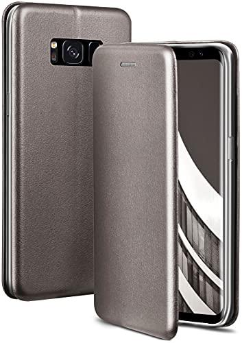 ONEFLOW Handyhülle kompatibel mit Samsung Galaxy S8 - Hülle klappbar, Handytasche mit Kartenfach, Flip Hülle Call Funktion, Leder Optik Klapphülle mit Silikon Bumper, Taupe