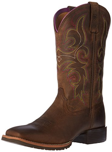 Ariat Women's Hybrid Rancher Western Boot, Distressed Brown/Hot Leaf, 8