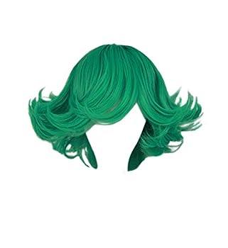 DAZCOS Women s Short Curly Green Anime Cosplay Costume Halloween Wig