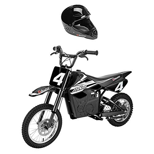 Razor MX650 Adult & Teen Dirt Rocket Ride On High-Torque Electric Motocross Motorcycle Dirt Bike, Speeds up to 17 MPH with Kids Full Face Helmet, Black