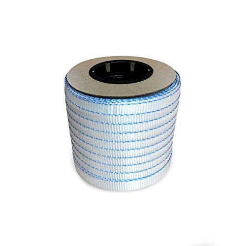 IDL Packaging - MiniCW34 3/4' x 250' Mini Woven Cord Strapping Roll, 2400 lbs - Break Strength, 6 x 3 Core, White (Pack of 1)