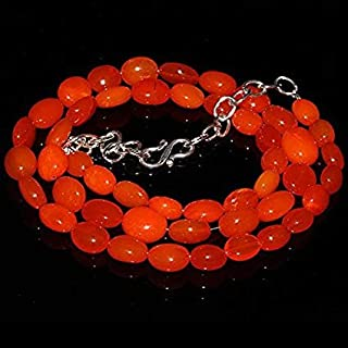 """Jewel Beads Natural Beautiful jewellery Natural Ethiopian Welo Fire Opal Orange Tumble Size :- 6x7 to 8x12 MM Length :- 18"""" Necklace ##301Code:- BB-9059"""