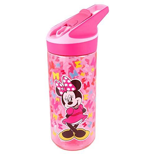 Minnie Mouse | Botella de Tritan Reutilizable para Niños | Cantimplora Reusable con Sistema Antigoteo y Pajita de Silicona - Facil Apertura con botón - Sin BPA - Capacidad: 620 ml